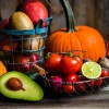 Fruits and vegetables on wooden background